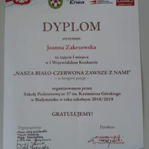 """Wielki sukces Joanny w I Wojewódzkim Konkursie """"Nasza biało-czerwona zawsze z nami"""""""